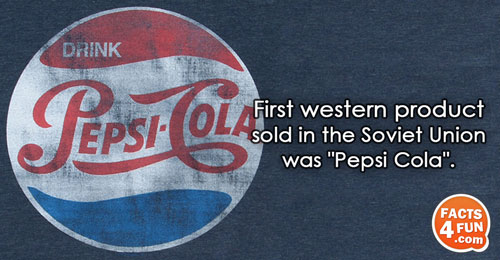 First western product sold in the Soviet Union was Pepsi Cola.