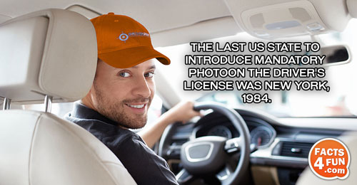 The last US state to introduce mandatory photo on the driver's license was New York, 1984.
