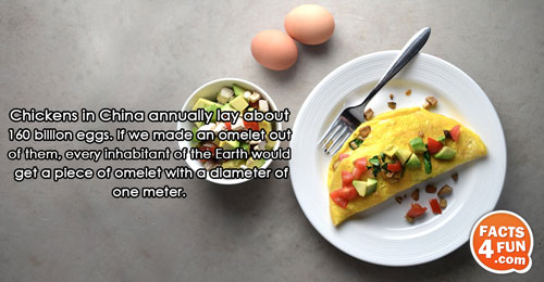 Chickens in China annually lay about 160 billion eggs. If we made an omelet out of