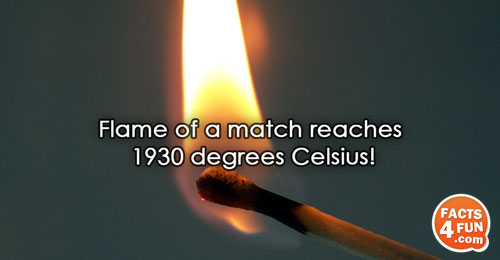 Flame of a match reaches 1930 degrees Celsius!