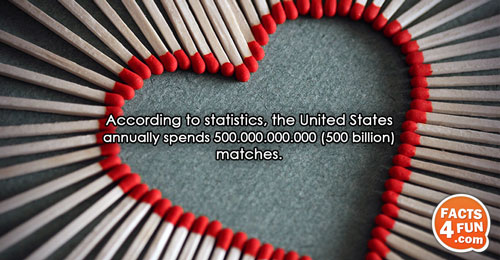 According to statistics, the United States annually spends 500.000.000.000 (500 billion) matches.