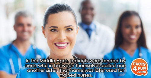 In the Middle Ages, patients were tended by nuns, who in between themselves called one another