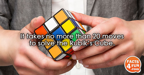 It takes no more than 20 moves to solve the Rubik's Cube.