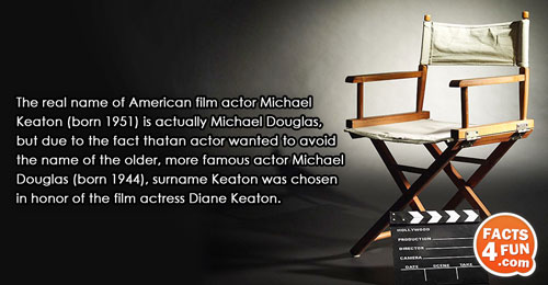 The real name of American film actor Michael Keaton (born 1951) is actually Michael Douglas, but