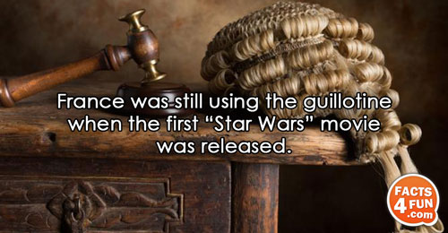 "France was still using the guillotine when the first ""Star Wars"" movie was released."