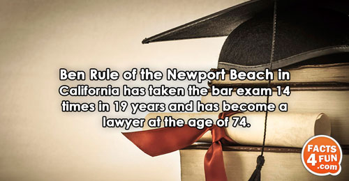 Ben Rule of the Newport Beach in California has taken the bar exam 14 times in