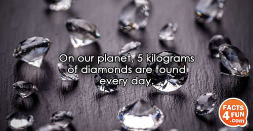 On our planet, 5 kilograms of diamonds are found every day.