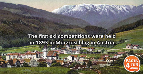 The first ski competitions were held in 1893 in Mürzzuschlag in Austria.