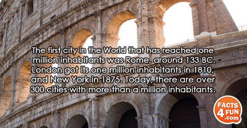 The first city in the World that has reached one million inhabitants was Rome, around 133