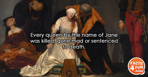 Every queen by the name of Jane was killed, gone mad or sentenced to death.