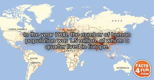 In the year 1900, the number of human population was 1.5 million, of whom a quarter