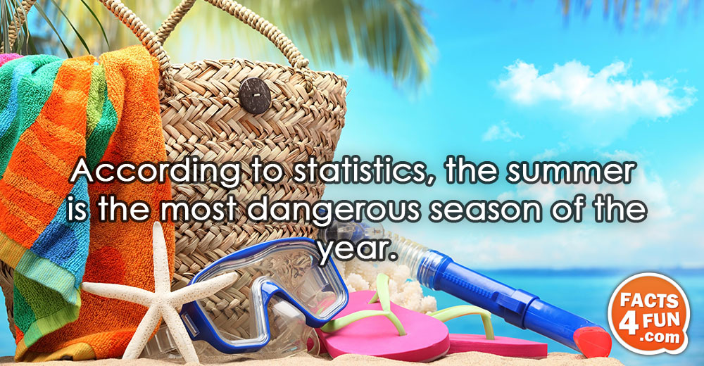 According to statistics, the summer is the most dangerous season of the year.