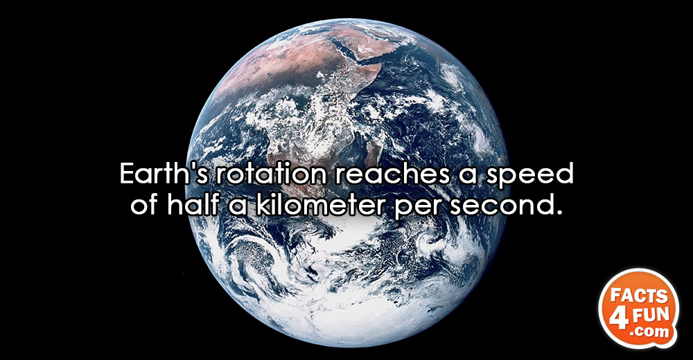 Earth's rotation reaches a speed of half a kilometer per second.