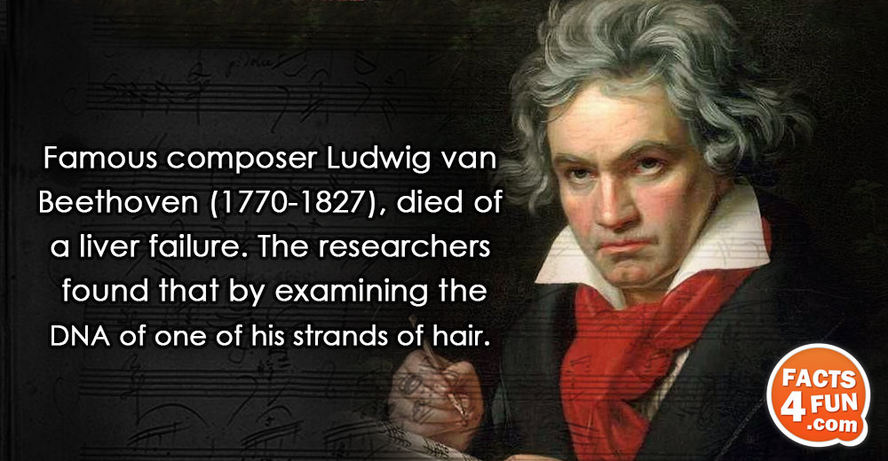 Famous composer Ludwig van Beethoven (1770-1827), died of a liver failure. The researchers found that by