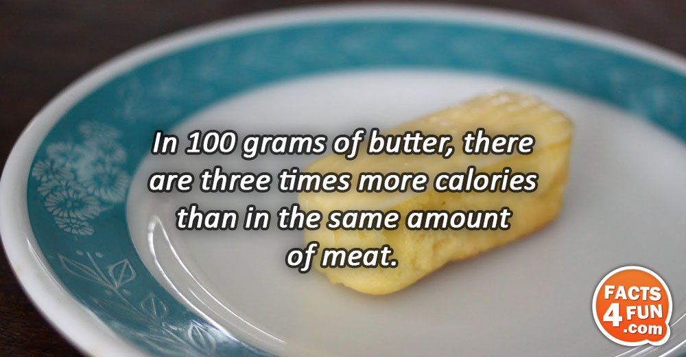 In 100 grams of butter, there are three times more calories than in the same amount