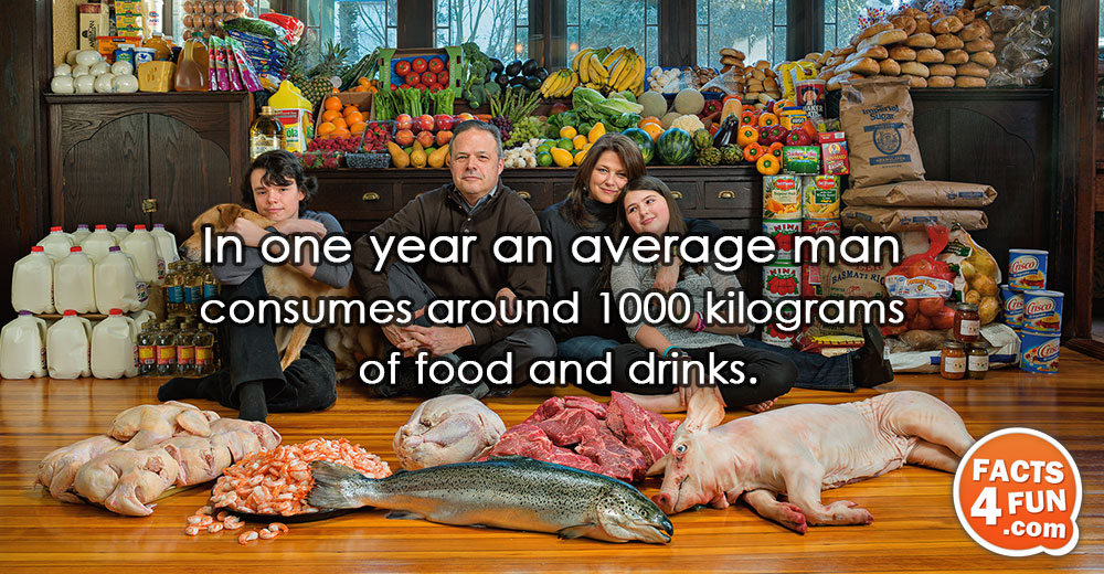 In one year an average man consumes around 1000 kilograms of food and drinks.