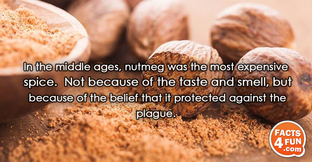 In the middle ages, nutmeg was the most expensive spice. Not because of the taste and