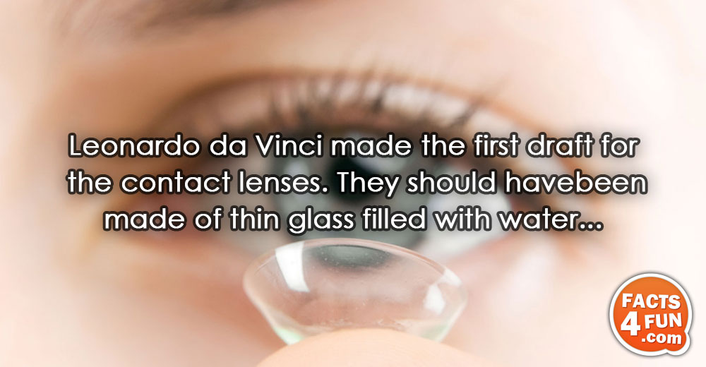 Leonardo da Vinci made the first draft for the contact lenses. They should have been made