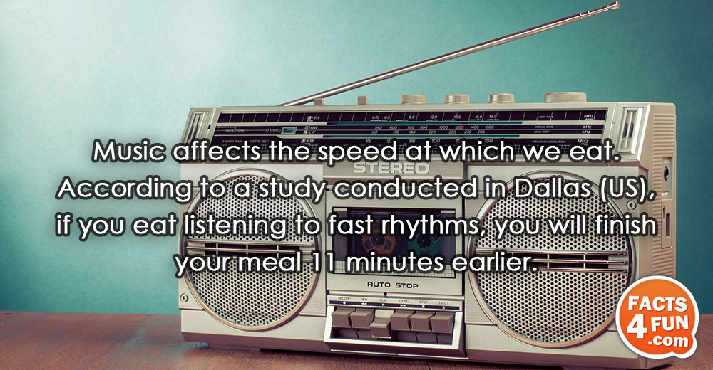 Music affects the speed at which we eat. According to a study conducted in Dallas (US),