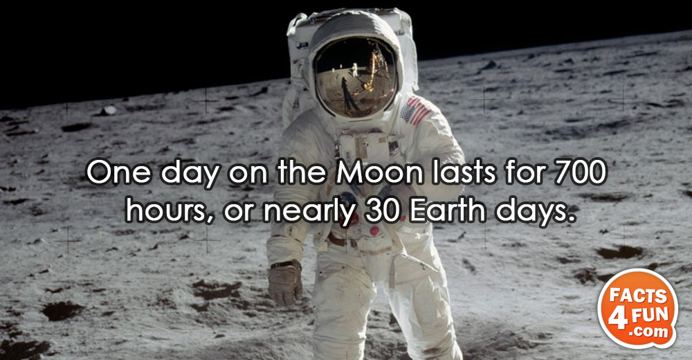 One day on the Moon lasts for 700 hours, or nearly 30 Earth days.