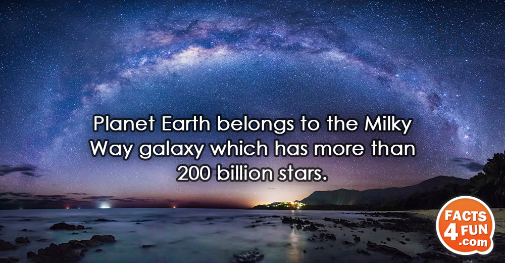 Planet Earth belongs to the Milky Way galaxy which has more than 200 billion stars.