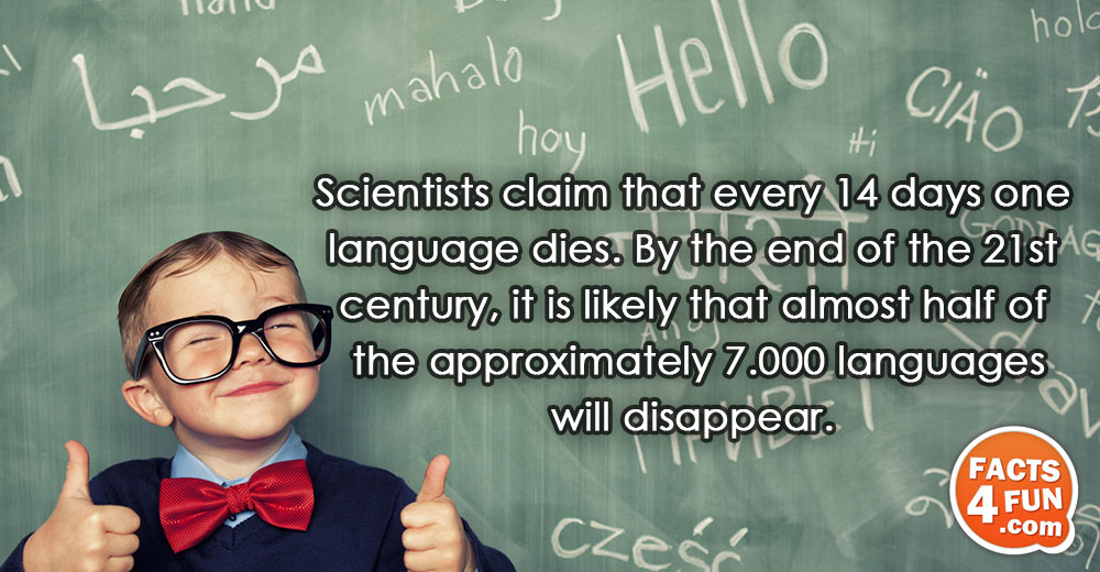 Scientists claim that every 14 days one language dies. By the end of the 21st century,