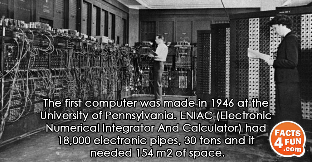 The first computer was made in 1946 at the University of Pennsylvania. ENIAC (Electronic Numerical Integrator