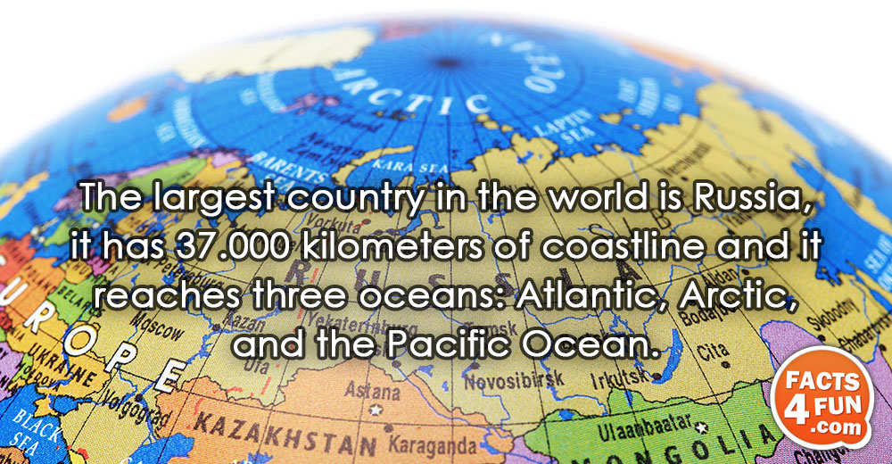 The largest country in the world is Russia, it has 37.000 kilometers of coastline and it