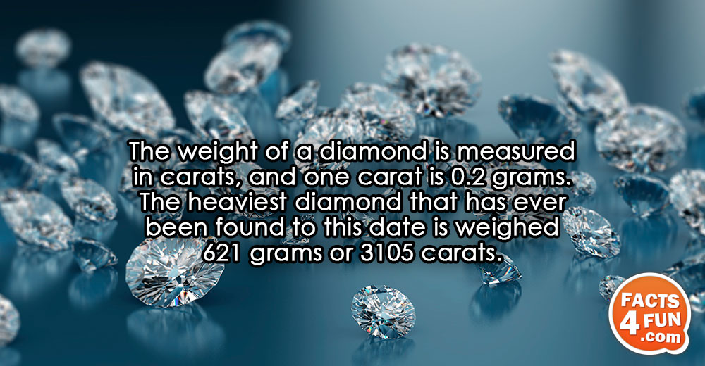 The weight of a diamond is measured in carats, and one carat is 0.2 grams. The