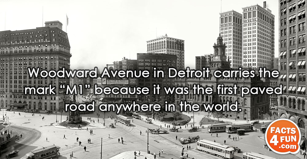"""Woodward Avenue in Detroit carries the mark """"M1"""" because it was the first paved road anywhere"""
