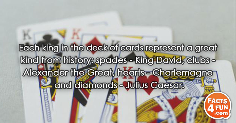 Each king in the deck of cards represent a great kind from history: spades - King