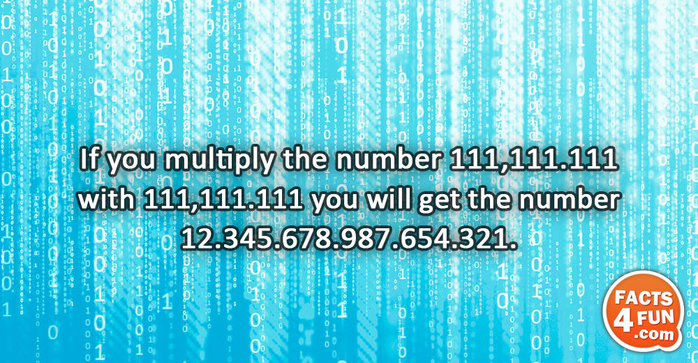 If you multiply the number 111,111.111 with 111,111.111 you will get the number 12.345.678.987.654.321.