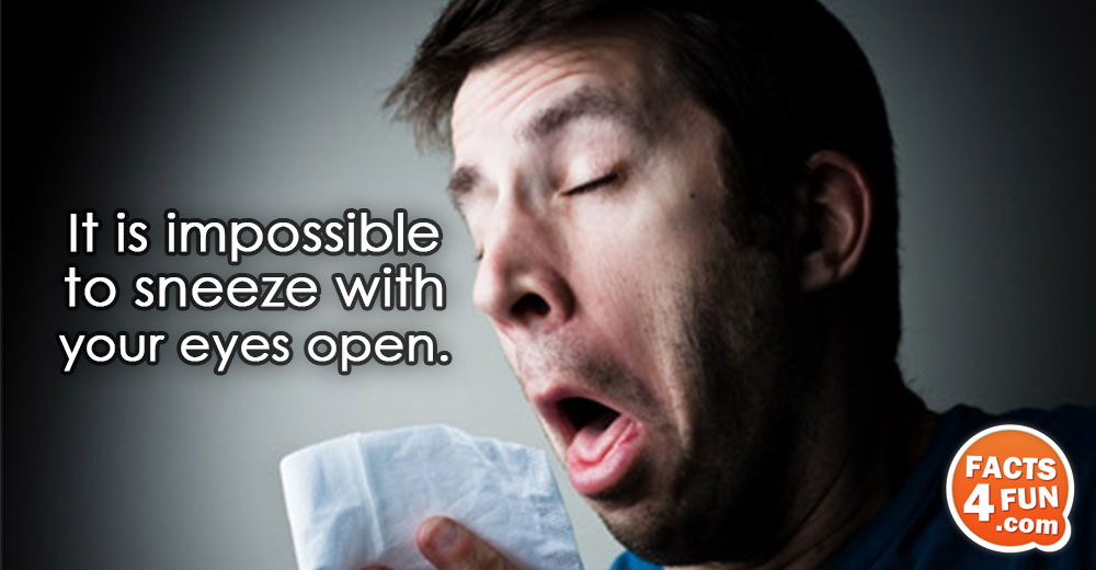 It is impossible to sneeze with your eyes open.