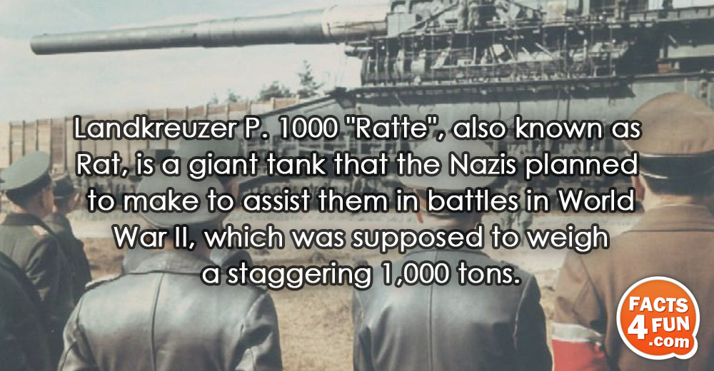 Landkreuzer P. 1000 Ratte, also known as Rat, is a giant tank that the Nazis planned