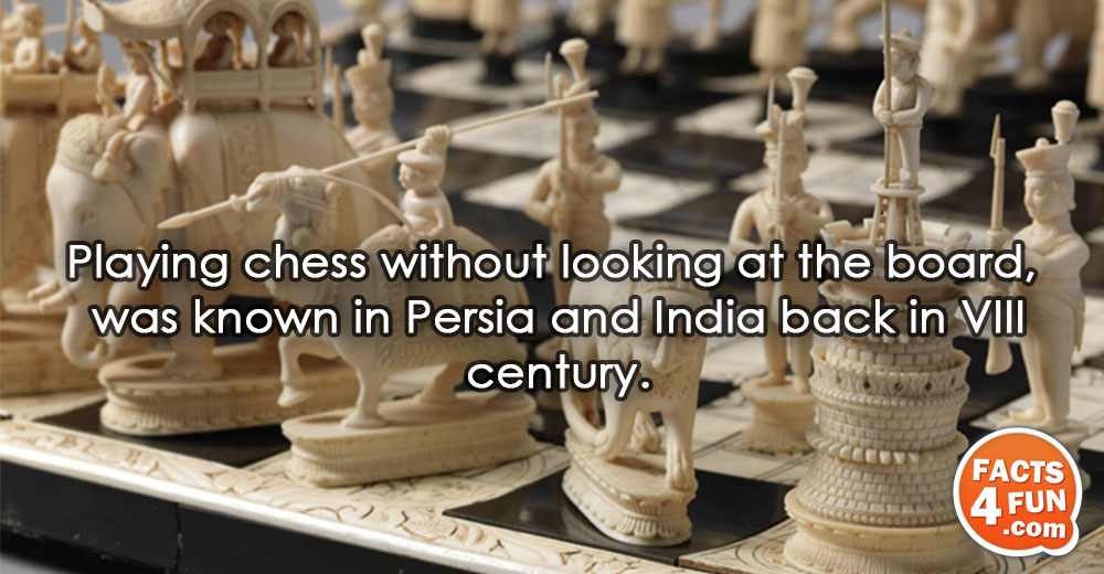 Playing chess without looking at the board, was known in Persia and India back in VIII