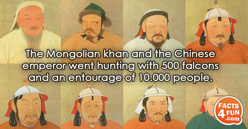 The Mongolian khan and the Chinese emperor went hunting with 500 falcons and an entourage of